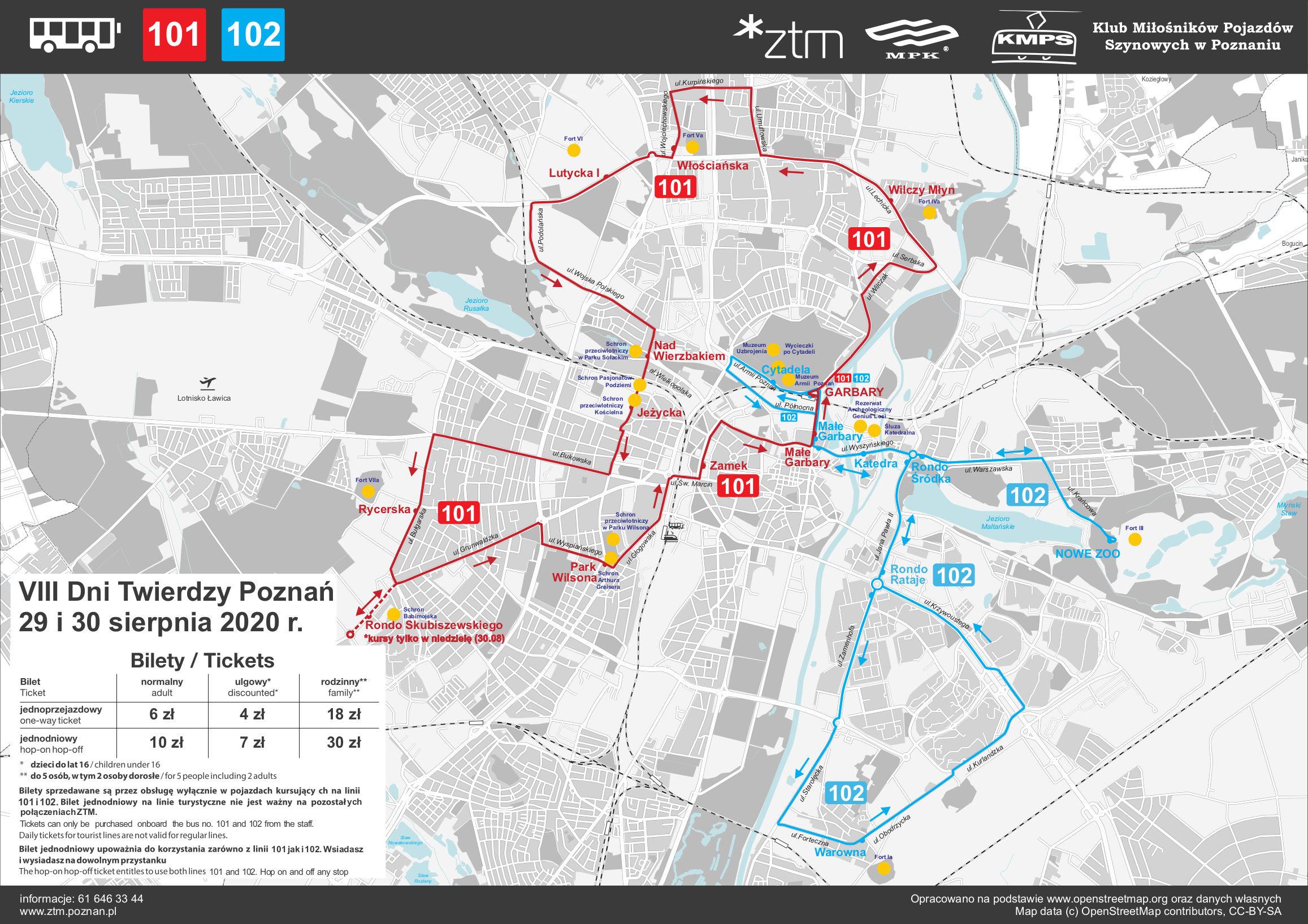 Dni Twierdzy Poznań 2020: forteczna linia autobusowa. Źródło: ZTM Poznań